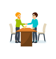 meeting business partners in quiet cozy atmosphere vector image