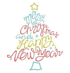 Merry Christmas and happy new yearhanddrawn vector