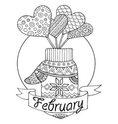 mitten and hearts for calendar vector image
