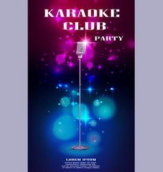 Neon glowing flyer with retro microphone and soft vector