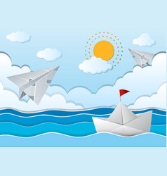 ocean scene with paper airplane and boat vector image