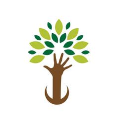organic logo leafs in hand logo vector image