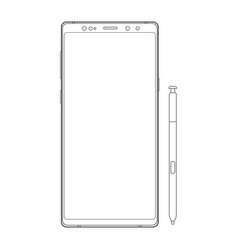 outline cellphone with stylus isolated vector image
