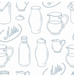 Outline seamless pattern with milk objects vector