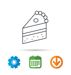 piece of cake icon sweet dessert sign vector image