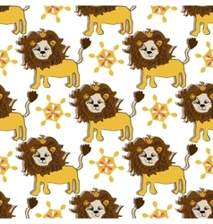 Pink gold lion pattern with magic flower cartoon vector