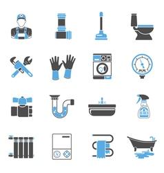 Plumbing Service Icons Sticker Set vector