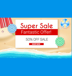 Poster of summer sales on seashore backdrop get vector