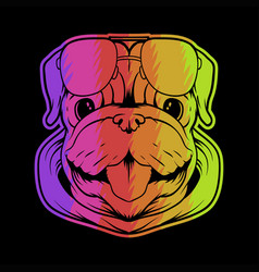 pug dog head colorful vector image