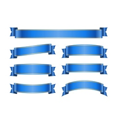 Ribbon blue banners set 1b vector image