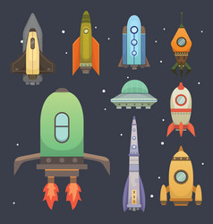 rocket ship in cartoon style new businesses vector image