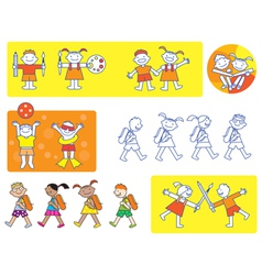School kids icons vector image
