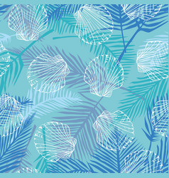 Seamless pattern with hand drawn scallop shells vector