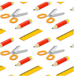 Seamless pattern with isometric pencil ruler and vector