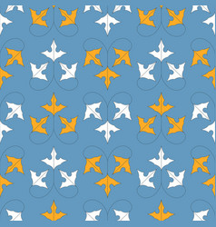 seamless pattern with orange and white leaves on vector image