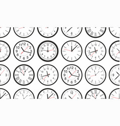 seamless pattern with white round wall clock vector image