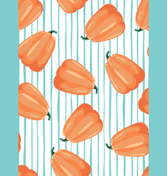 seamless patterns with leaves and pumpkin vector image