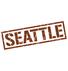 Seattle brown square stamp vector