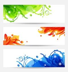 Set brochure templates with flower frames vector image