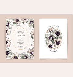 set card with flower anemone leaves wedding vector image