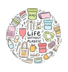 set hand drawn elements zero waste life vector image
