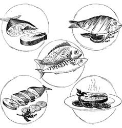 Set hand drawn fish dishes vector