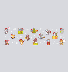 set little oxes in santa hats happy new year vector image