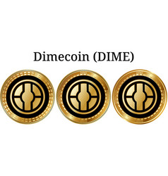 Set of physical golden coin dimecoin dime vector