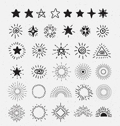 Set Of Vintage Sunburst and stars Hand-Drawn vector