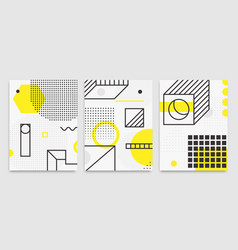 set universal trend posters linear geometric vector image