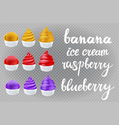 set yellow banana red raspberry blue violet vector image