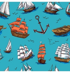 Ships and boats sketch seamless pattern vector image