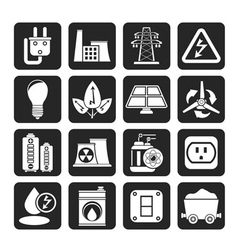 Silhouette energy and electricity icons vector image