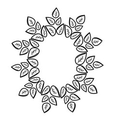 Silhouette round eco leaves vector