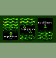 St patrick s day green sequins flyer collection vector
