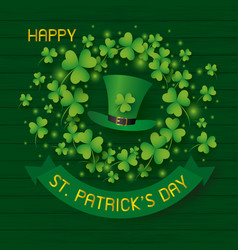 st patricks day design of hat and clover leaves vector image