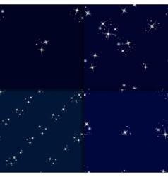 Starry sky seamless pattern set vector image
