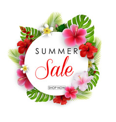 Summer sale round background with flowers vector