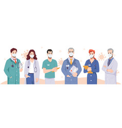 team doctors wearing masks coronavirus disease vector image