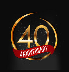 Template gold logo 40 years anniversary with red vector