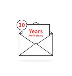 thin line 30 years anniversary logo like open vector image