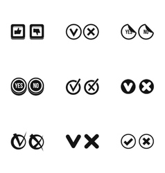 Tick icons set simple style vector