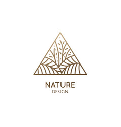 Tropical plant logo triangular emblem flower in vector