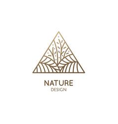 tropical plant logo triangular emblem flower vector image