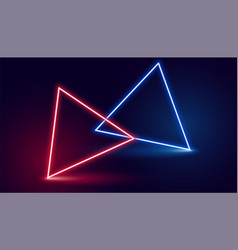 Two neon triangle in red and blue colors vector