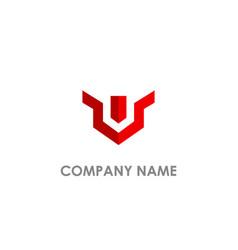 v shape line business logo vector image