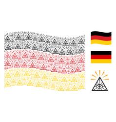 Waving german flag mosaic of total control eye vector