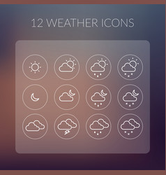 Weather simple icons set vector