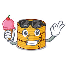 With ice cream cartoon traditional bamboo for vector