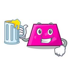 With juice trapezoid mascot cartoon style vector